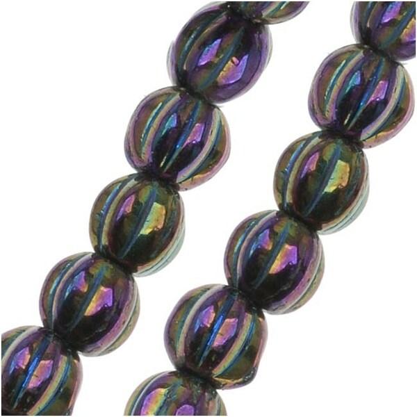 Czech Pressed Glass - Round Melon Beads 5mm Diameter 'Purple Iris' (50)