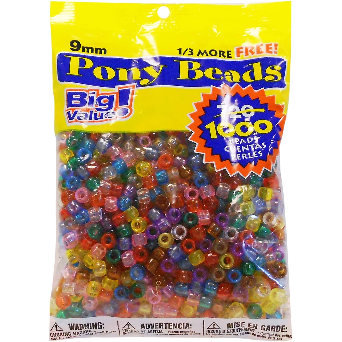 3 Pack Pony Beads 6mmX9mm 1,000//Pkg-Opaque White