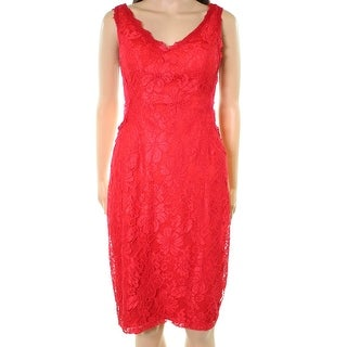Xscape Bright Red Womens Size 10 Scallop Floral Lace Sheath Dress