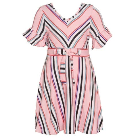 Girls Pink Stripe Flared Cuff Short Sleeved Tie Accent Easter Dress