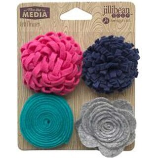 Touch Of Teal - Jillibean Soup Mix The Media Felt Flowers 4/Pkg