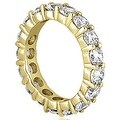 3.40 cttw. 14K Yellow Gold Round Diamond Eternity Ring - Thumbnail 2