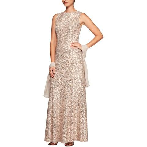 Alex Evenings Womens Formal Dress Lace Sleeveless