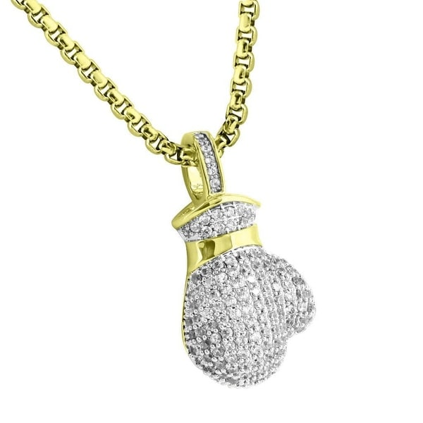 Boxing Gloves Pendant 18k Yellow Gold Plate Lab Diamonds Steel Necklace