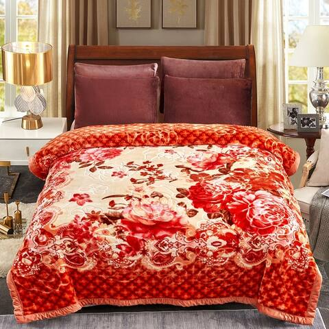 2 Ply Raschel Blanket Korean Style Embossed Rose Blanket Q/K