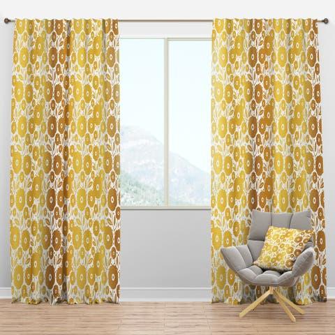 Designart 'Golden Floral I ' Mid-Century Modern Blackout Curtain Panel