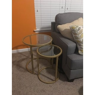 c8432f109b83c Shop Silver Orchid Grant Glam Nesting Side Table 2pc Set - Gold ...