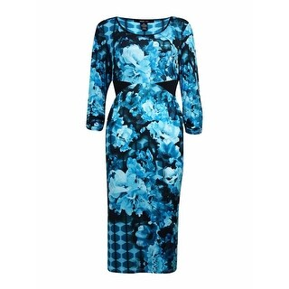 Style & Co. Women's Flower Graphic Ruched 3/4 Sleeves Dress