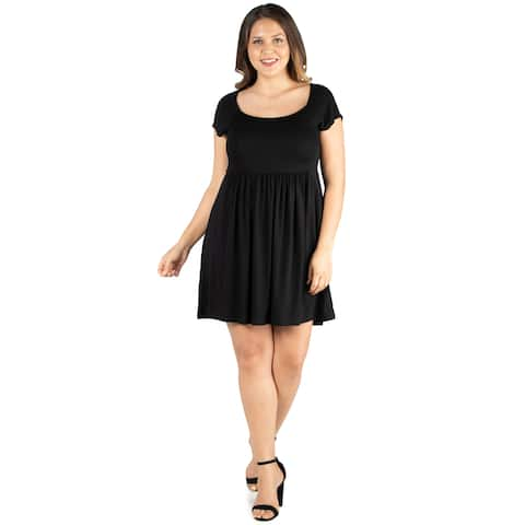 24seven Comfort Apparel Cap Sleeve Knee Length Plus Size Babydoll Dress For Women