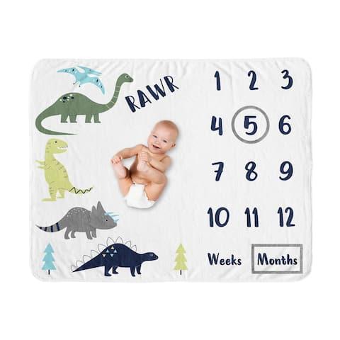 Mod Dino Collection Boy Baby Monthly Milestone Blanket - Blue, Green and Grey Modern Dinosaur Rawr