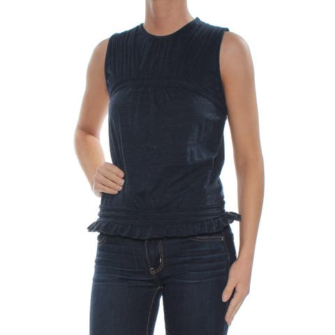 MAX STUDIO Womens Navy Sleeveless Crew Neck Top Size XS