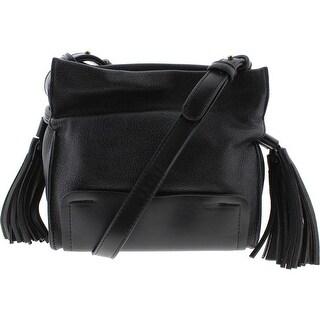 SR Squared by Sondra Roberts Womens Nappa Faux Leather Tassels Crossbody Handbag - Black - Medium