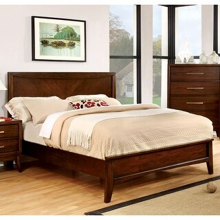 Link to Furniture of America Kasten Modern Brown Cherry Platform Bed Similar Items in Bedroom Furniture