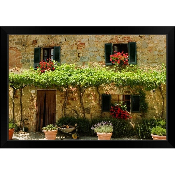 """""""Potted plants outside a house, Piazza Roma, Monteriggioni, Tuscany, Italy"""" Black Framed Print"""