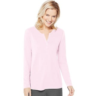 Women's Hanes Lightweight Split Neck Tunic - Size - L - Color - Paleo Pink