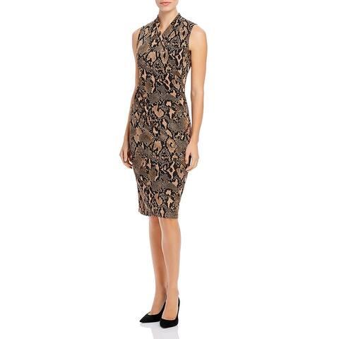 Donna Karan Womens Python Wear to Work Dress Faux Wrap Snake Print - Brown/Black