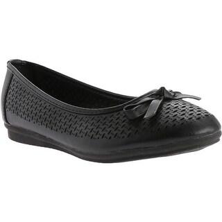 Beacon Shoes Women's Kinsey Flat Black Polyurethane