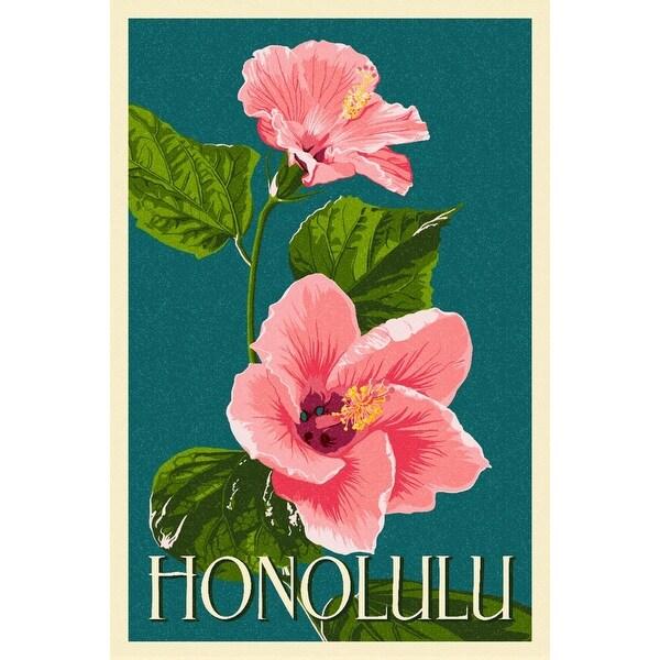 Honolulu, Hawaii - Pink Hibiscus - Letterpress - Lantern Press Artwork (Art  Print - Multiple Sizes Available) - 9 x 12 Art Print
