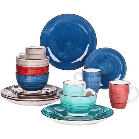 vancasso Bella Dinnerware Set 16 Pieces Porcelain Dinner Set Ceramic Colorful - 8' x 10'