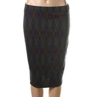 Zara Trafaluc Womens Pull On Argyle Pencil Skirt - M