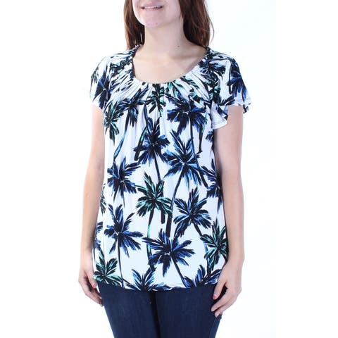 STYLE & CO Womens White Pleated Collar Palm Trees Short Sleeve Jewel Neck Peplum Top Size: S