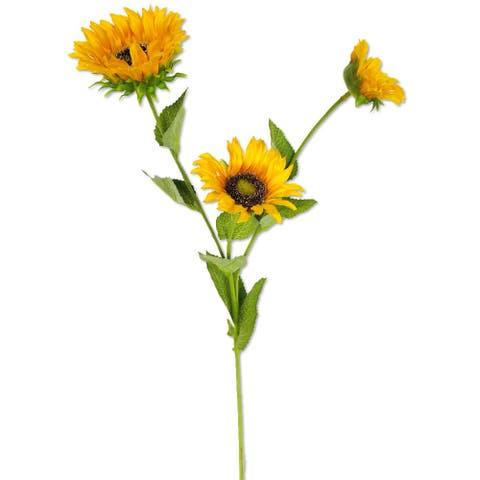 "Fortune Silk Sunflower Stem X3 Yellow 26.5"" Set of 6 - 26.5"