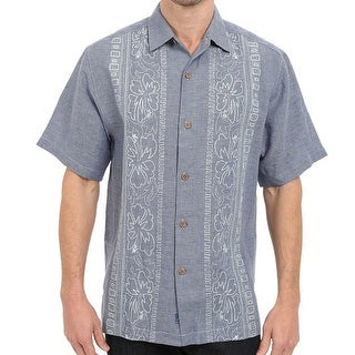 Tommy Bahama NEW Blue Mens Size Small S Hana Rue Linen Camp Shirt