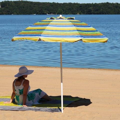 Sunnydaze 6-Foot Beach Umbrella with UV Protection and Tilt - Tropical Fusion - 6 ft
