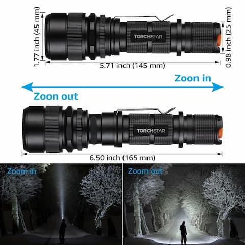 LED Tactical Flashlight, USB Charging, Water-Resistant for Camping