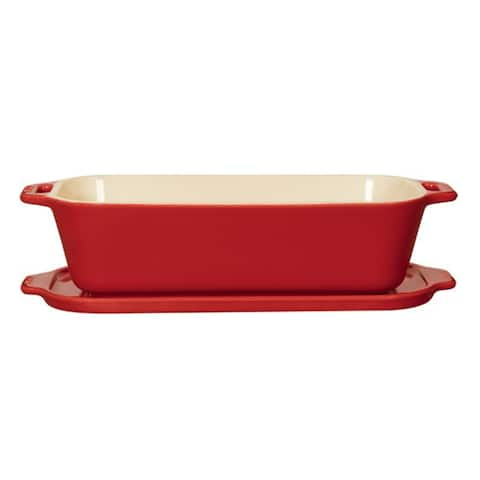 Staub Ceramic 10-inch x 4.5-inch Covered Pate/Terrine Mold - Cherry