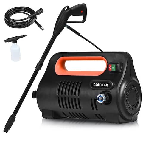 Costway 1800PSI Portable Electric High Pressure Washer 1.96GPM 1800W W/ Hose Reel Orange/Green