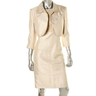 Tahari ASL Womens Metallic Padded Shoulders Dress With Jacket - 12