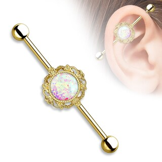 Opal Glitter center with Filigree Around Industrial Barbell - 14GA (Sold Ind.) (Option: Yellow)