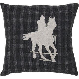 """18"""" Black and Gray Country Horse and Cowboy Silhouette on Plaid Throw Pillow - Down Filler"""