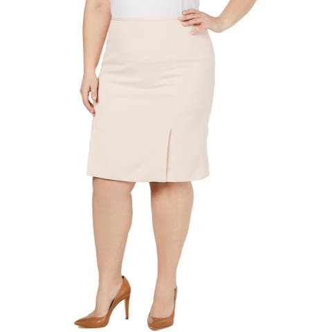 Calvin Klein Womens Plus Pencil Skirt Twill Pleated - Rose White
