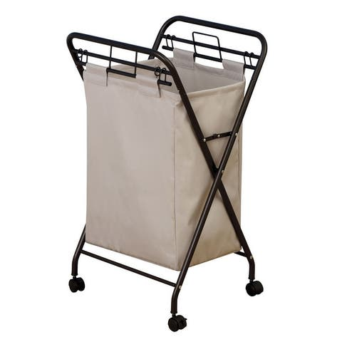 Household Essentials Rolling Laundry Hamper with Heavy-Duty Canvas Bag