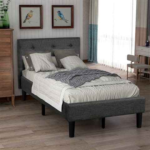 Merax Twin Upholstered Button Tufted Platform Bed with Strong Wood Slat Support