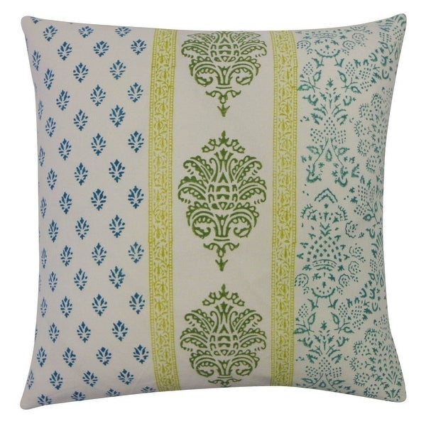 Vivai Home Turquoise Vertical Stamp Pattern Square 16x 16 Feather Pillow - Blue