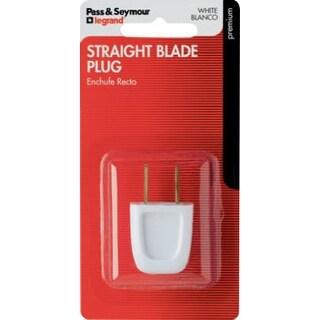 Pass & Seymour Straight Blade Plug, 6A, 125V, White