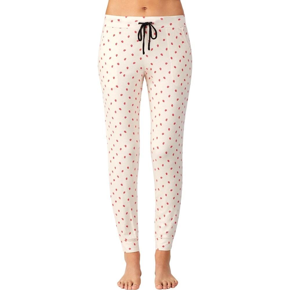 DKNY Womens Pajama Bottoms Comfy Sleepwear - Tan Print - XL