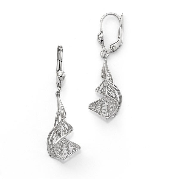 14k White Gold Diamond Cut Earrings
