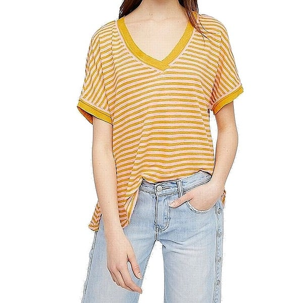 32063fead2 Shop Free People Yellow Womens Size Medium M Oversized Striped V ...