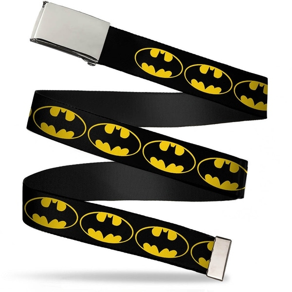 "Blank Chrome 1.0"" Buckle Bat Signal 2 Black Yellow Black Webbing Web Belt 1.0"" Wide - S"