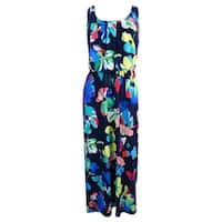 Signature by Robbie Bee Women's Petite Floral Dress (PM, Blue/Yellow) - Blue/Yellow - PM