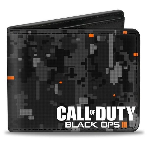 Call Of Duty Black Ops Iii Digital Camo Grays Black Orange White Bi Fold Bi-Fold Wallet - One Size Fits most