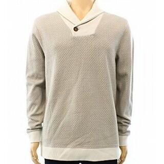 Tasso Elba NEW Beige Men Large XL Shawl-Collar Diamond Print Sweater
