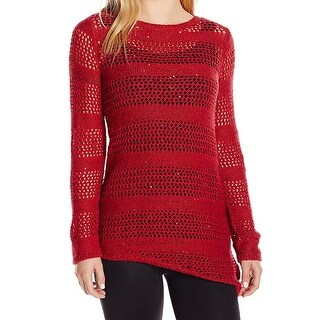 Rafaella NEW Red Womens Size Small PL Petite Sequined Pullover Sweater