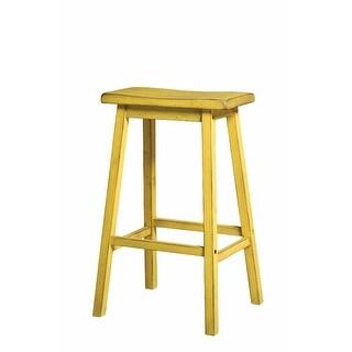 Wooden Bar Stool (Set-2), Antique Yellow