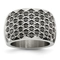 Stainless Steel Black CZs Polished Ring (15 mm) - Thumbnail 0
