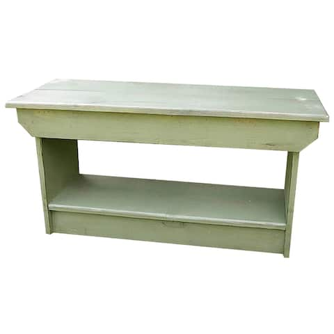 3' Distressed Sage Green Modern Style Coffee Table Bench